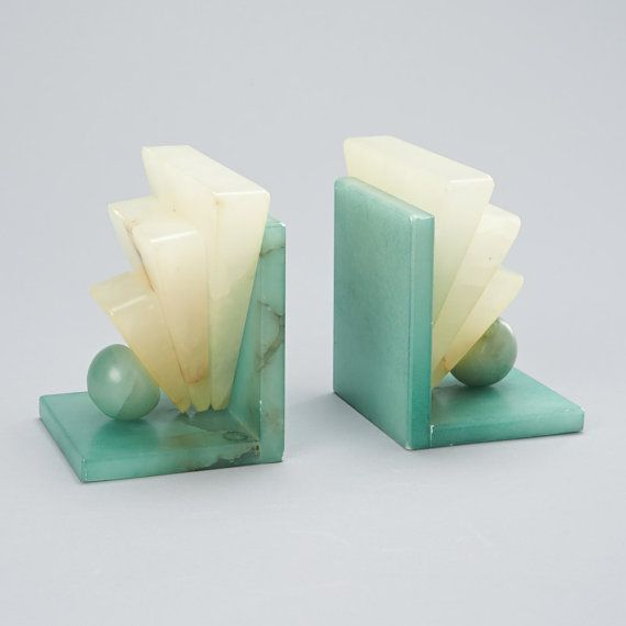 Art Deco Style, Genuine Alabaster Bookends (Hand Carved in Italy) on Etsy, $82.00