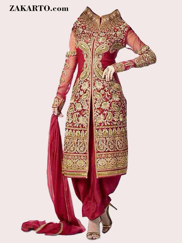 GEORGETTE RED EMBROIDERED SEMI STITCHED SALWAR SUIT WITH DUPATTA