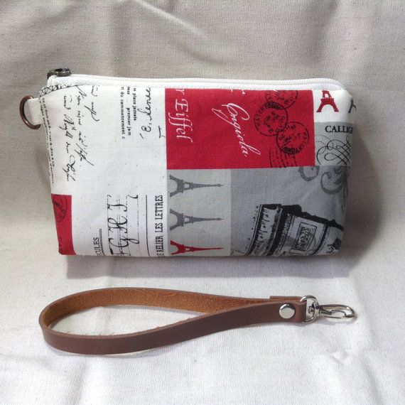 midi zipper clutch Eiffel cosmetic pouch gadget by KatunKatunBags