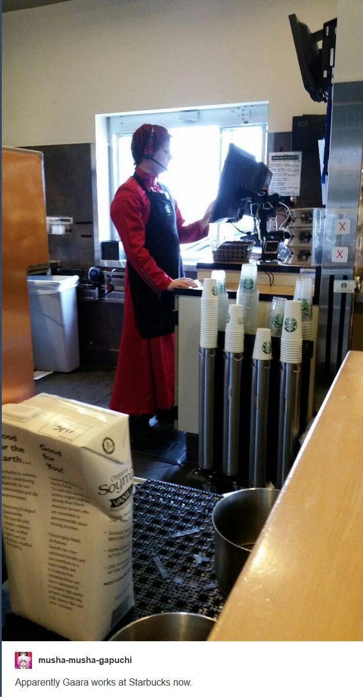"<3 Gaara Cosplay - by musha-musha-gapuchi, tumblr - ""Apparently Gaara works at Starbucks now."""