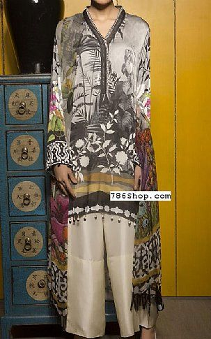 Grey Satin Suit (2 Pcs) | Buy Sapphire Pakistani Dresses and Clothing online in USA, UK