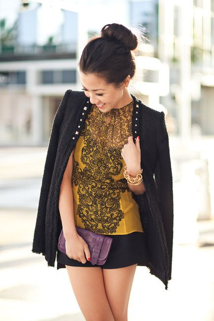 From blog entry: http://www.wendyslookbook.com/2012/03/marigold-silky-lace-gold-studs/