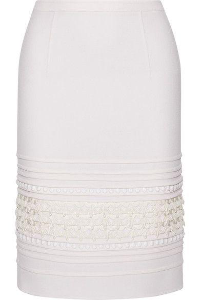 Oscar de la Renta crochet-paneled pin-tucked stretch crepe skirt