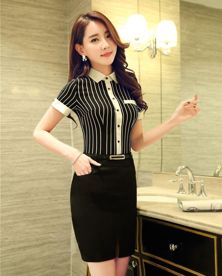 Señoras Diseños De Uniformes de Oficina Mujer Trajes de Negocios con 2 Unidades Falda y Top de Rayas Blusas y Camisas Elegantes OL estilo en Trajes de falda de Ropa y Accesorios de las mujeres en AliExpress.com | Alibaba Group