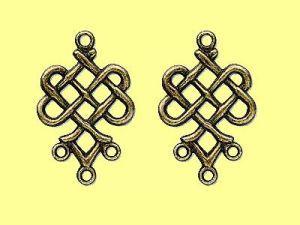 """1 Paar Ohrring Anhänger, """"Keltische Knoten"""", Pewter Messing, 23mm,"""