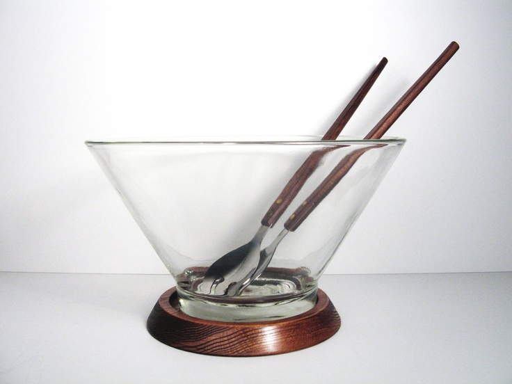 Vintage Danish Modern Glass Salad Bowl with Rosewood Serving Utensils and Wooden Stand