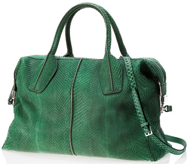Tods D-Styling Medium Bag in green python. Went into a Tods store in Japan and it was awesome. Finally got to touch some of the luxurious leather.