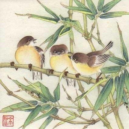 """Bird Conference"" - Original Fine Art for Sale - © Jinghua Gao Dalia"