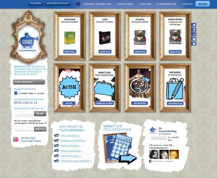 De homepage van De Tassenkoning www.detassenkoning.nl