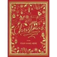 Christmas Lace RED FRONT PERSONALISED Christmas Cards