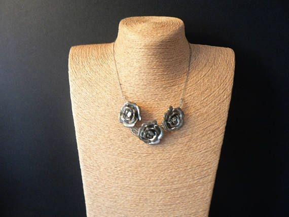 Silver Toned Rose Necklace