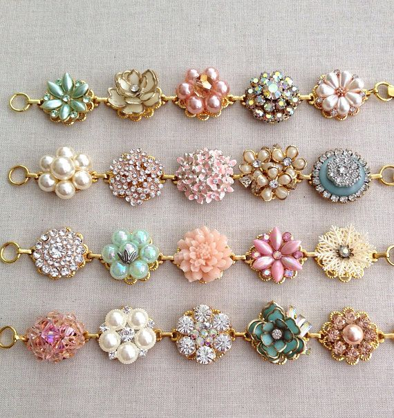 Soft Blush Mint Aqua bridesmaid bracelets vintage earring