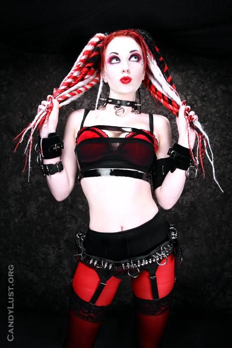 Cyber gothic girl stripping