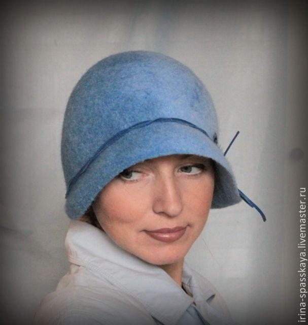 """Купить Клош """"Голубая куропатка"""" - голубой, абстрактный, дамская шляпа, шляпка клош, теплая шляпка"""