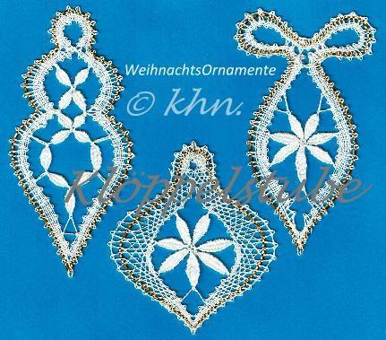 eklöppelte Weihnachtsornamente, eigener Entwurf