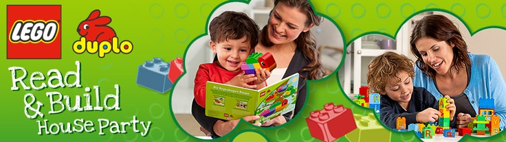 "Invite your friends and their preschoolers for a day of play with a ""LEGO DUPLO Read & Build House Party"". With LEGO DUPLO bricks, you'll discover the fun of reading a story and building alongside, while encouraging your child's imagination and their love for learning."