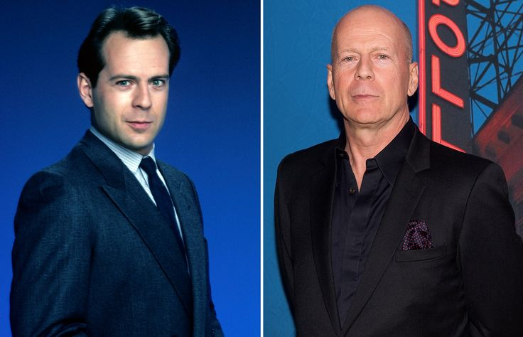 Les stars hier et aujourd'hui Bruce Willis 1985 et 2014