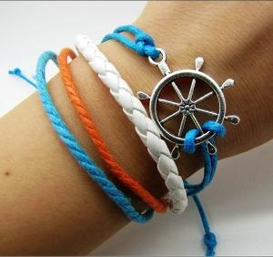 silvery rudder pendant Leather and Ropes Women by braceletcool