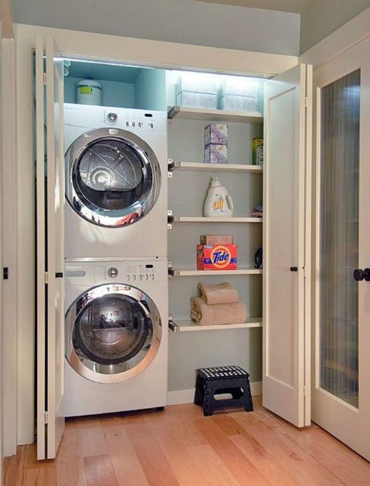 Upstairs or Downstairs Laundry in a closet - Stack The Washer And Dryer And Use The Extra Space For Shelving!
