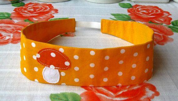 Polka Dots Mushroom Hairband - Mushroom Headband - Reversible Yellow Hairband - Print Cotton Hairband - Fabric Headband - Fabric Hairband