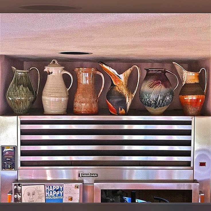 From my Timehop app from 5 years ago, 6 large pitchers on top of our kitchen industrial refrigerator. From left-Ellen Shankin, Clary Illian, Warren MacKenzie, Jane Shellenbarger, Steven Hill and Charity Davis-Woodard.