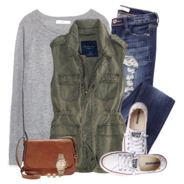 Grey sweatshirt, army green vest & chucks