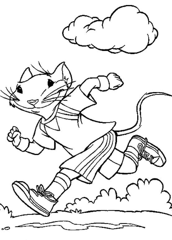 Stuart Little Running Morning Coloring Pages For Kids Printable
