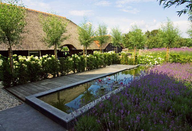 Landelijke tuin met moderne accenten, midden tussen de weilanden in het buitengebied van Ermelo.
