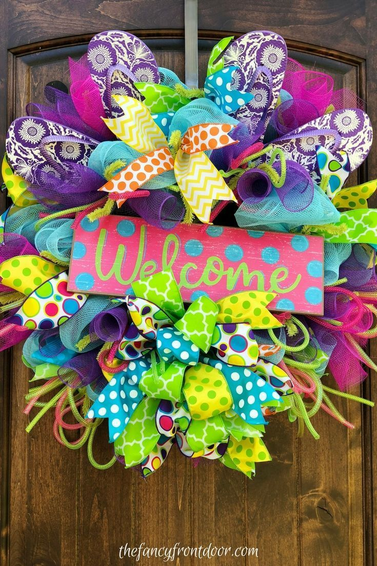 71917d0e1 Colorful deco mesh and ribbon flip flop summer welcome wreath. Front door  home decor ideas.
