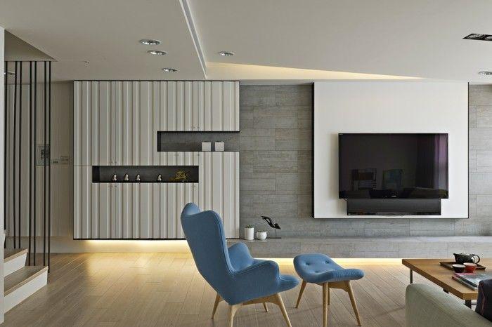 minimalistisch wohnen wohnideen wohnzimmer blaue möbel moderne LED - wohnideen led