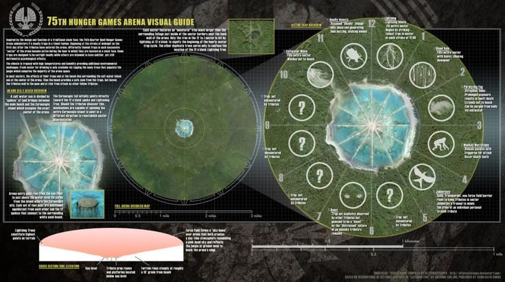 The 75th Hunger Games Arena Map: One of the keys to survival for Katniss and Peeta in Catching Fire, was working out that the arena in the 75th Hunger Games, worked like a clock.    This amazing map of what the arena might have looked like has been created byu00a0alternatecoppa