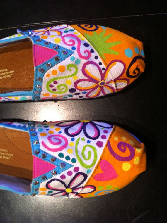 Hand Painted Flower and Swirl Toms with Swarovksi Crystals... Made to order. $100.00, via Etsy.