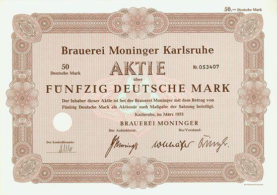 Brauerei Moninger Karlsruhe, März 1973, Aktie über 50 DM,
