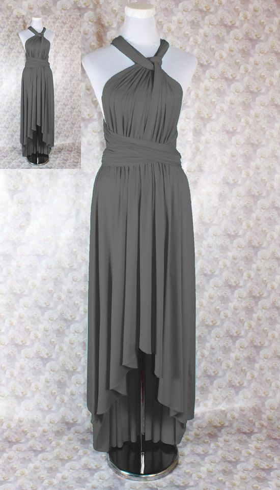 Dark Grey Bridesmaid Dress Long High-Low by maggiecollection