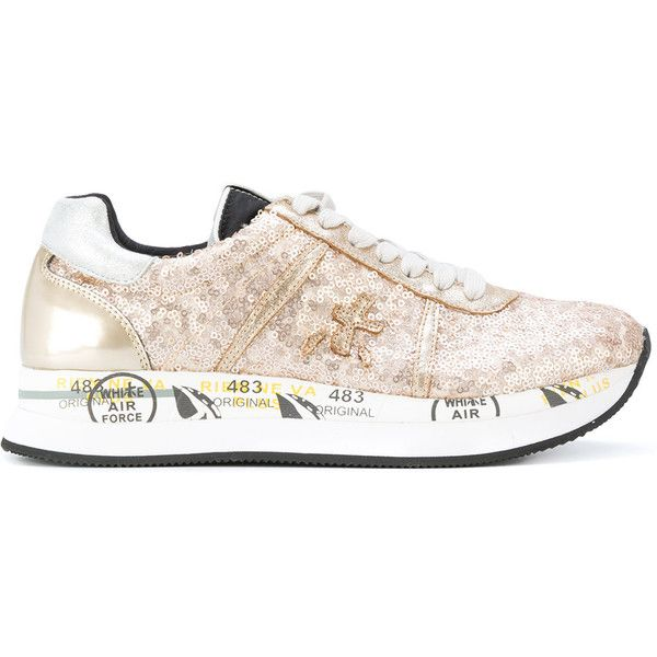 Premiata sequin lace-up sneakers (5.266.170 VND) ❤ liked on Polyvore featuring shoes, sneakers, brown, brown leather trainers, leather lace up sneakers, sequin sneakers, lace up shoes and brown lace up shoes