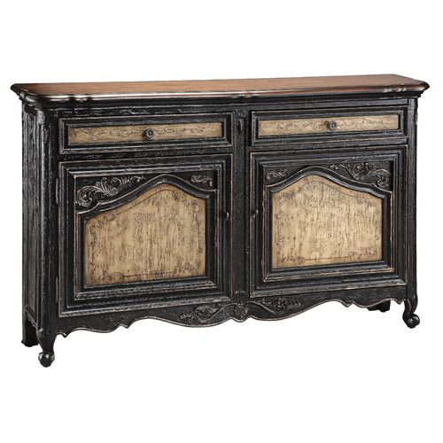 Stein World Narrow Sideboard In Textured Black and Tan