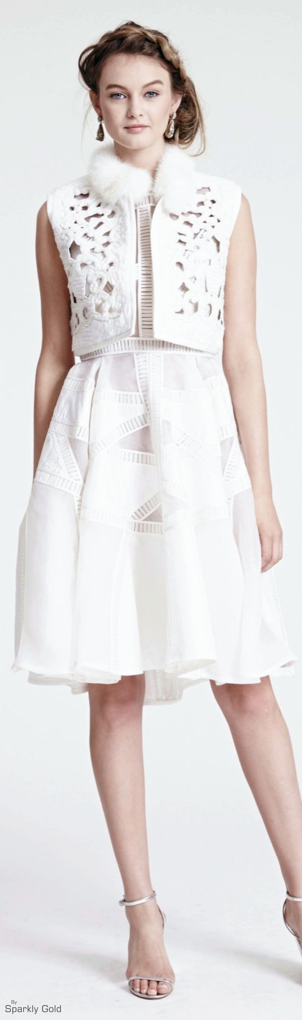 women fashion outfit clothing style apparel @roressclothes closet ideas Dennis Basso Resort 2016