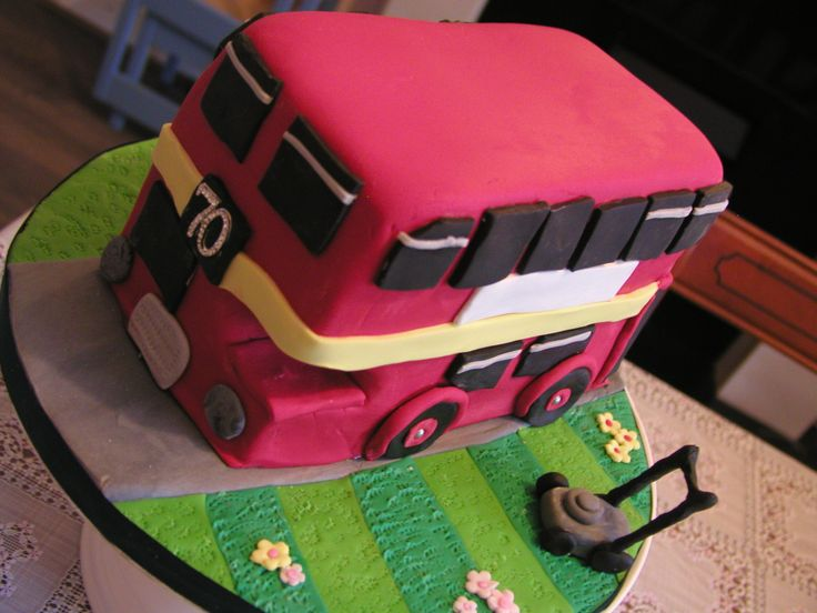double decker bus cake for someone who likes gardening