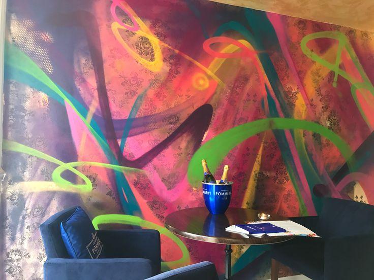 Food Worthing - #restaurantinterior  #mural #handpainted #graffiti inspired #digital wallpaper