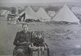 Of the slightly more than 104,000 women and children placed in these camps, about 28,000 died. The humanitarian world was appalled. The conduct of the British against the civilian Boer population was the subject of universal disapprobation, so it's interesting to note that his written defense of the British cause in the war was the reason Conan Doyle (creator of the Sherlock Holmes) was later knighted