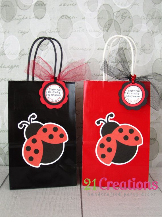 Ladybug Favor Bags  set of 8 by 21Creations on Etsy