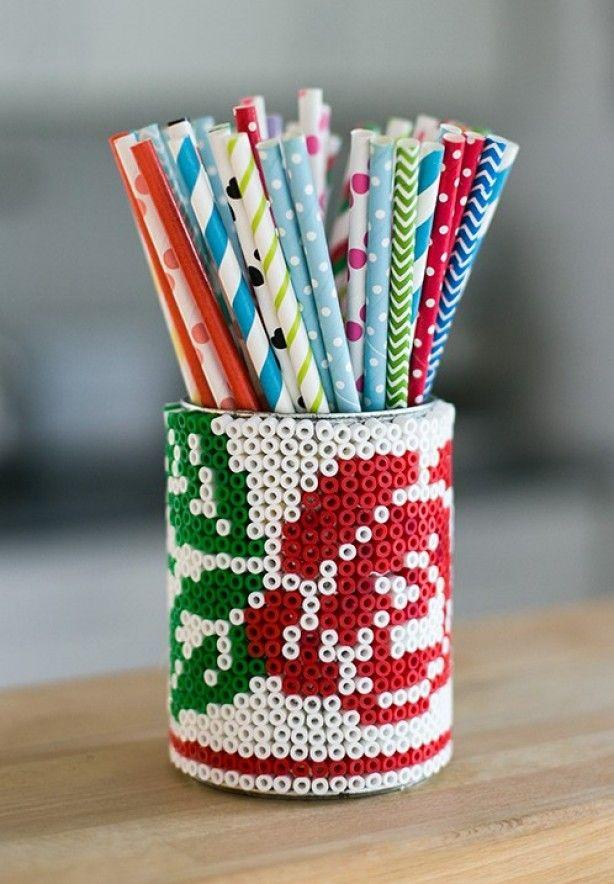 strijkkralen pennenblik met roos.