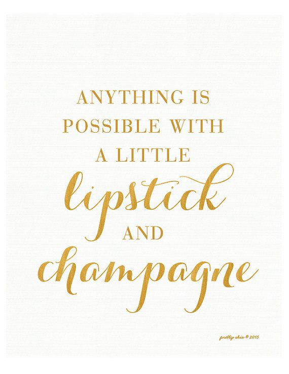Anything Is Possible - Art Print - Inspirational Wall Art - Motivational - Gold - Typography - Bar Cart - Champagne