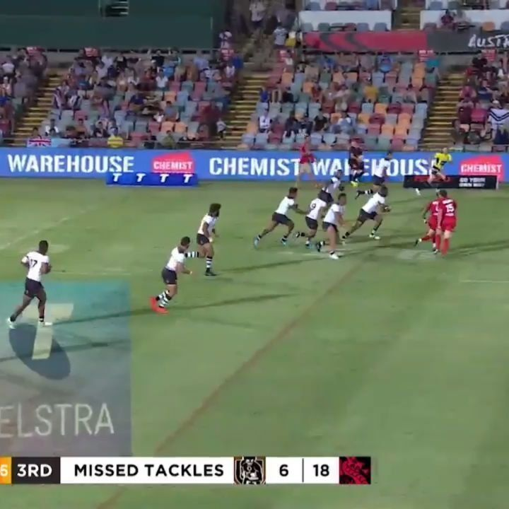 nice Fiji Bati's Akuila Uate blazes through the Welsh squad with incredible speed and agility in Rugby League World Cup.