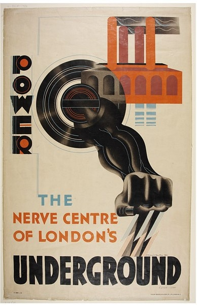 Power, the Nerve Centre of London's Underground    Object:  Poster    Place of origin:  Greater London, England (issued)    Date:  1930 (designed)   1930 (issued)    Artist/Maker:  Kauffer, Edward McKnight, born 1890 - died 1954 (artist)   Underground Electric Railways Co. of London, Ltd. (issuer)    Materials and Techniques:  Colour lithograph    Credit Line:  Given by the Underground Electric Railways Co.