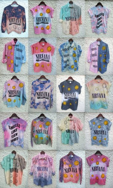 t-shirt grunge nirvana tie dye blouse shirt colorful smiley oldschool vintage hipster ombre bleach diy rad radical