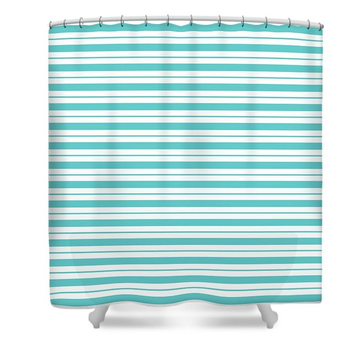 #fabrics #stripes #teal #wall-covering #art-prints #shower-curtains #totes #home-decor #accessories #showercurtain Curtain featuring the digital art Teal-breeze by Page Newman