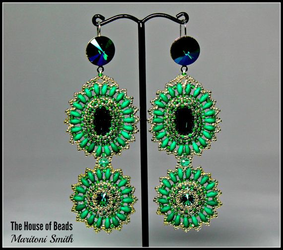 Swarovski Dark Moss Green Crystal and Superdous by TheHouseofBeads