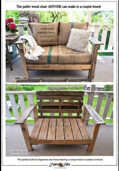 DIY pallet chair made to fit cushions