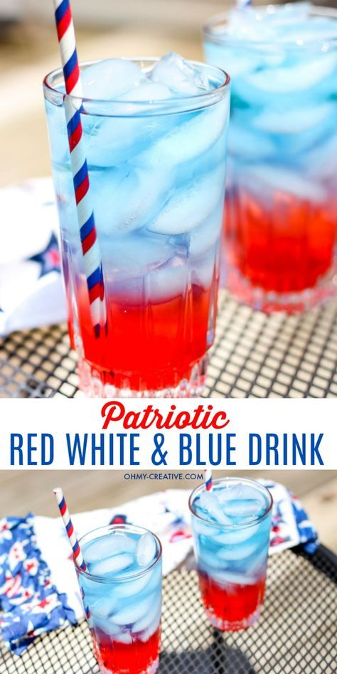 Patriotic Red White and Blue Drinks | OHMY-CREATIVE.COM | Layered drinks | Fourth of July drinks | 4th of July layered drinks | non-alcoholic drinks | How to make layered drinks | Kids drinks | Memorial Day drinks | Labor Day drinks